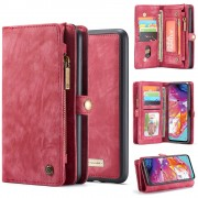 CASEME 008 Series for Samsung Galaxy A70 2-in-1 TPU Multi-slot Wallet Vintage Split Leather Case - Red