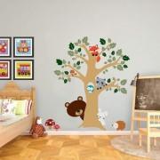 EJA Art animal tree Wall Sticker (Material - PVC) (Pec - 1) With Free Set of 12 pec butterflies sticker