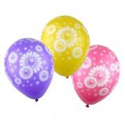 10 baloane latex cu floricele albe - 29 cm