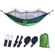 Outdoor Travel Camping Tent Swing Bed Mosquito Net Hanging Hammock - Dark Green/Light Green