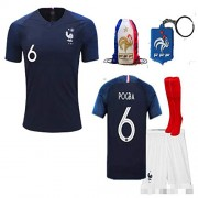 France Soccer Team Pogba Griezmann Mbappe Kid Youth Replica Jersey Kit : Shirt, Short, Socks, Bag, Key, Please Check Size Chart (P. Pogba, Size 26 (9-10 Yrs Old Approx.))