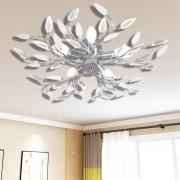 vidaXL Lâmpada teto com folhas de acrílico e cristal, branca 5 x E14