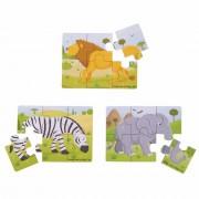 Set 3 puzzle din lemn Jungla Vesela, 2 ani+