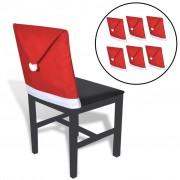 vidaXL 6 Huse pentru spătarul scaunului în formă de căciula lui Moș Crăciun