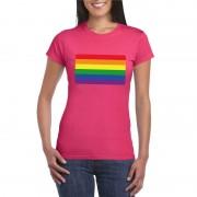 Bellatio Decorations Gay pride/ LGBTshirt Regenboog vlag roze dames XS - Feestshirts