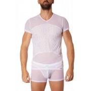 Lookme Temptation Diamond Mesh V Neck Short Sleeved T Shirt White 901-81
