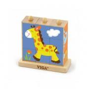 Drvene kocke puzzle s postoljem - divlje životinje (9 kom) 50834
