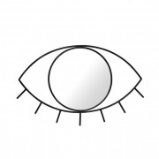 Fali tükör, Szem formájú Cyclops, fém-üveg, közepes 38x25x1 fekete