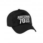 Bellatio Decorations Awesome 70 year old pet / cap zwart voor dames en heren