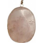 Pandantiv oval cuart roz