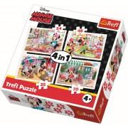 Puzzle clasic copii - Minnie Mouse cu prietenii 4 in 1