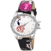 Lava Creation Stylish Black RosePeacock Design With Round Dial Girls Wrist Watch For Women (315-rose strap mor dial)