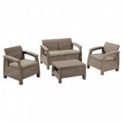 Corfu set kerti bútor garnitúra, cappuccino színben, homok párnával