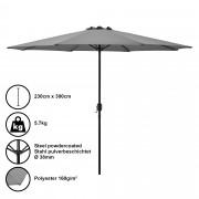 Градински чадър [casa.pro]® Ø 300 x 230 cm, Сив, водоусточив, Полиестер
