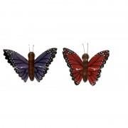Merkloos 2x Houten magneten vlinders rood en paars
