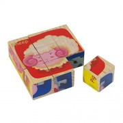 Wooden Farm Animal Block Puzzle 6 puzzles in 1 Jigsaw Wood Cube Pieces Educational Sensory Learning Toy Best Gift for Kids
