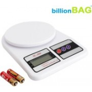 Billionbag SF400 7 Kg With inbuilt Batteries Electronic Kitchen Weighing Scale(Off-White)