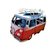 VINTAGE BEACH LOOK HANDDESIGNED METAL VW RED SURF BUS WITH SURFBOARDS ON TOP!!