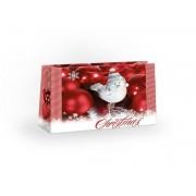 Taška dárková velké na šířu vánoční ptáček