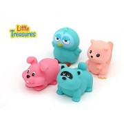 Little Treasuress Baby Bath Tub Floating Toys Cute Colored Animal Friends for Kids Set of 4