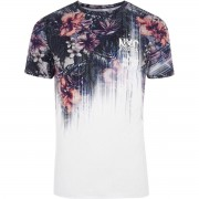 River Island Mens Big and Tall Blue floral 'NYC' fade T-shirt