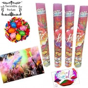 DECORATIVE BUCKETS :Holi colours : magic colour : GULAL BLASTER PACK OF TWO TUBES WITH PACK OF HOLI BALLOONS & HAPPY HOLI MESSAGE CARD : COMBO OF 4 : COLOUR SHOOTER: SPREAD THE COLOUR IN AIR : holi color gun :NON TOXIC holi colors : herbal gulal|colour sm