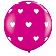 Baloane latex jumbo 3 inscriptionate big hearts-a-round wild berry, qualatex 31416, set 2 buc