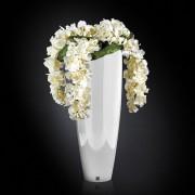 Aranjament floral OSLO IN SHINY VASE, alb 130cm