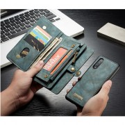 CASEME 008 Series 2-in-1 Multi-slot Wallet Vintage Split Leather Phone Case for Samsung Galaxy A50 - Blue