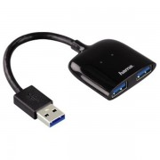 Hama 1:2 00054132 Usb 3.0 Hub/card Reader For Mobile Phone Black