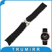 Silicone Rubber Watchband 20mm 23mm for Armani AR5858 AR5868 AR5905 AR5906 Men Women Watch Band Steel Buckle Wrist Strap Black