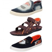 Chevit Men's Combo Pack of 3 Sandal & Casual Shoes (Loafers & Floaters Sandals) TR-603+124+113-6