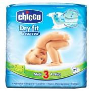 Chicco Pañales Chicco Dry Fit Midi Advanced T3 (4-9 Kg) 21 Uds