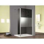 Schulte Home Paroi de douche fixe à l'italienne Walk In Solo avec volet pivotant, 100 cm, verre anthracite, décor décent