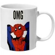 Mooch Wale Oh My God Spider Man Yellow Baground Ceramic Mug