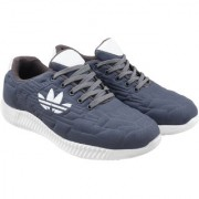 Myung Fasho Synthetic Solid Men's Sports Running Shoes with Mesh Sole in Grey color