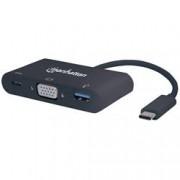 Manhattan Convertitore USB-C™ a VGA, USB-A, USB-C™