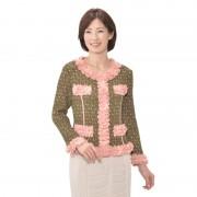 プリーツフリルトリミング 小紋プリントジャケット【QVC】40代・50代レディースファッション