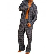 Hom Тонкая мужская пижама из шелка с хлопком серого цвета в клетку HOM Jack 04269cZ9
