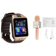 Zemini DZ09 Smart Watch and WS 858 Microphone Karrokke Bluetooth Speaker for LG OPTIMUS L3 II DUAL(DZ09 Smart Watch With 4G Sim Card Memory Card| WS 858 Microphone Karrokke Bluetooth Speaker)