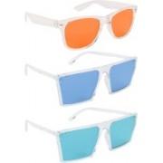 NuVew Wayfarer, Retro Square Sunglasses(Orange, Blue, Green)