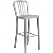 Flash Furniture High-Back Metal Stool with Vertical Slat Back - 30Inch, Silver, Model CH6120030SIL