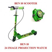 Exciting Dealz Ben10 Kid's Scooter with Brakes & Bell and Ben 10 Omniverse Kids Watch with Inbuilt 24 Projector Image of Ben 10 Cartoon Characters