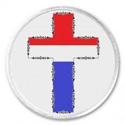 red white blue cross crucifix 3 sew on patch church christian christ jesus