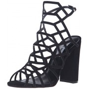 Steve Madden Women's Skales Dress Sandal, Black Nubuck, 8 M US