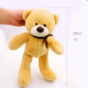 Mr. Bear & His Friends 38CM Soft Teddy Bears Plush Toys Stuffed Animals Bear Dolls with Bowtie Kids Toys for Children Birthday Gifts Party Decor - Light Brown