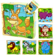 Holzsammlung 16 Pcs Wooden Cube Block Jigsaw Puzzles - Animal #2 Pattern Blocks Puzzle for Child 3 Year and Up Perfect Christmas Gift Your Kids