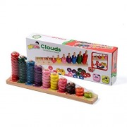 Wooden Counting Board - Mathematic Abacus Number Stacker Color Shape Sorter Rainbow Ring Puzzles Toys Computation Beads