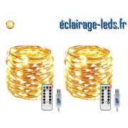 2 Guirlandes LED usb 10m Blanc chaud telecommande ref G20M-2
