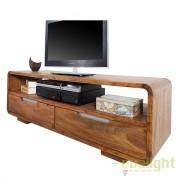 Comoda TV din lemn de trandafir, colturi rotunjite Goa 130cm Sheesham A-35869 VC